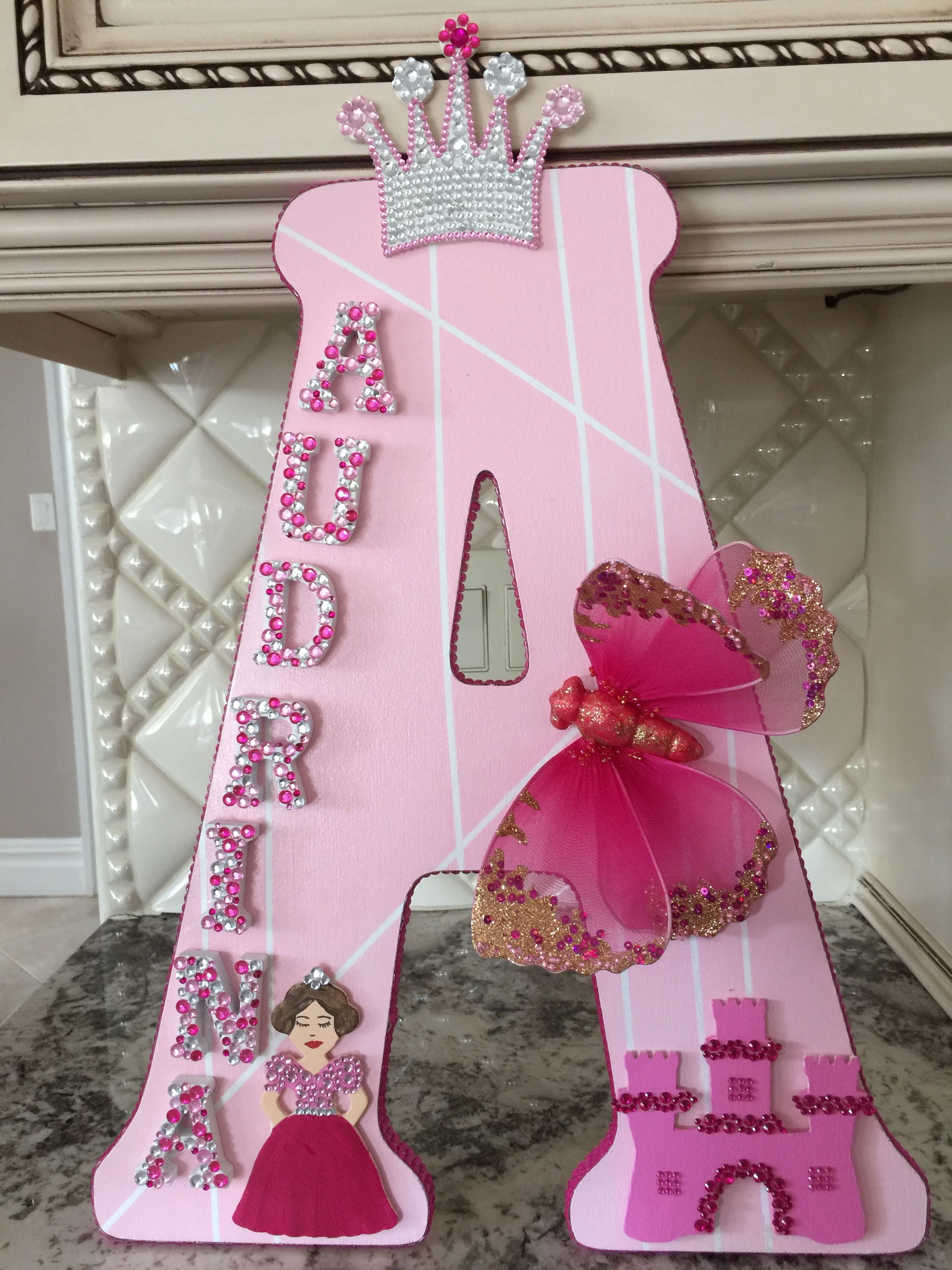 Decorative wooden letter A A is for Audrina Pink name