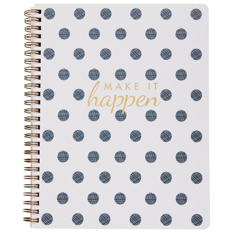 """Inspiring and functional, our new, exclusive notebook will make a lovely addition to your work week. Featuring smooth lined pages and wire binding for a lay-flat design, it's perfect for taking meeting minutes or keeping track of your daily to-dos. 7"""" x 9"""". Available only at Indigo."""