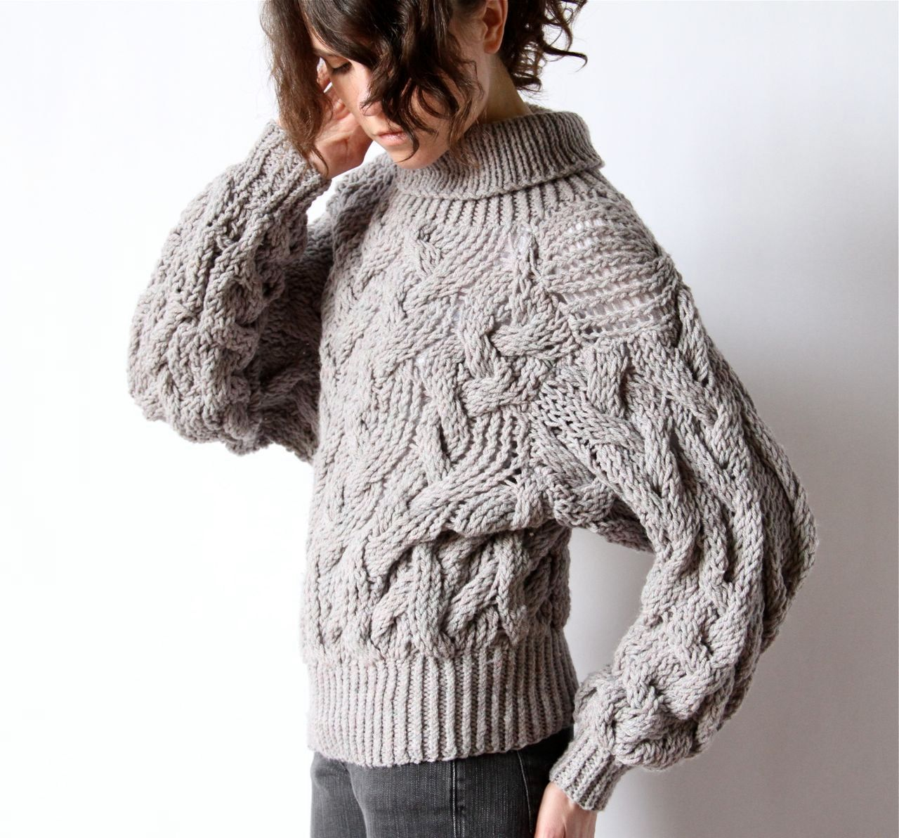 Cable Knit Sweater 80s Avant Garde grey turtleneck crop top ...