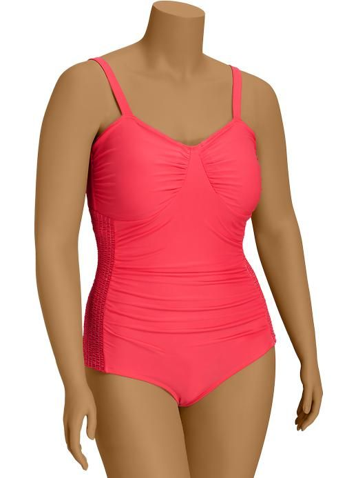 old navy | women's plus side-smocked swimsuits | queen size