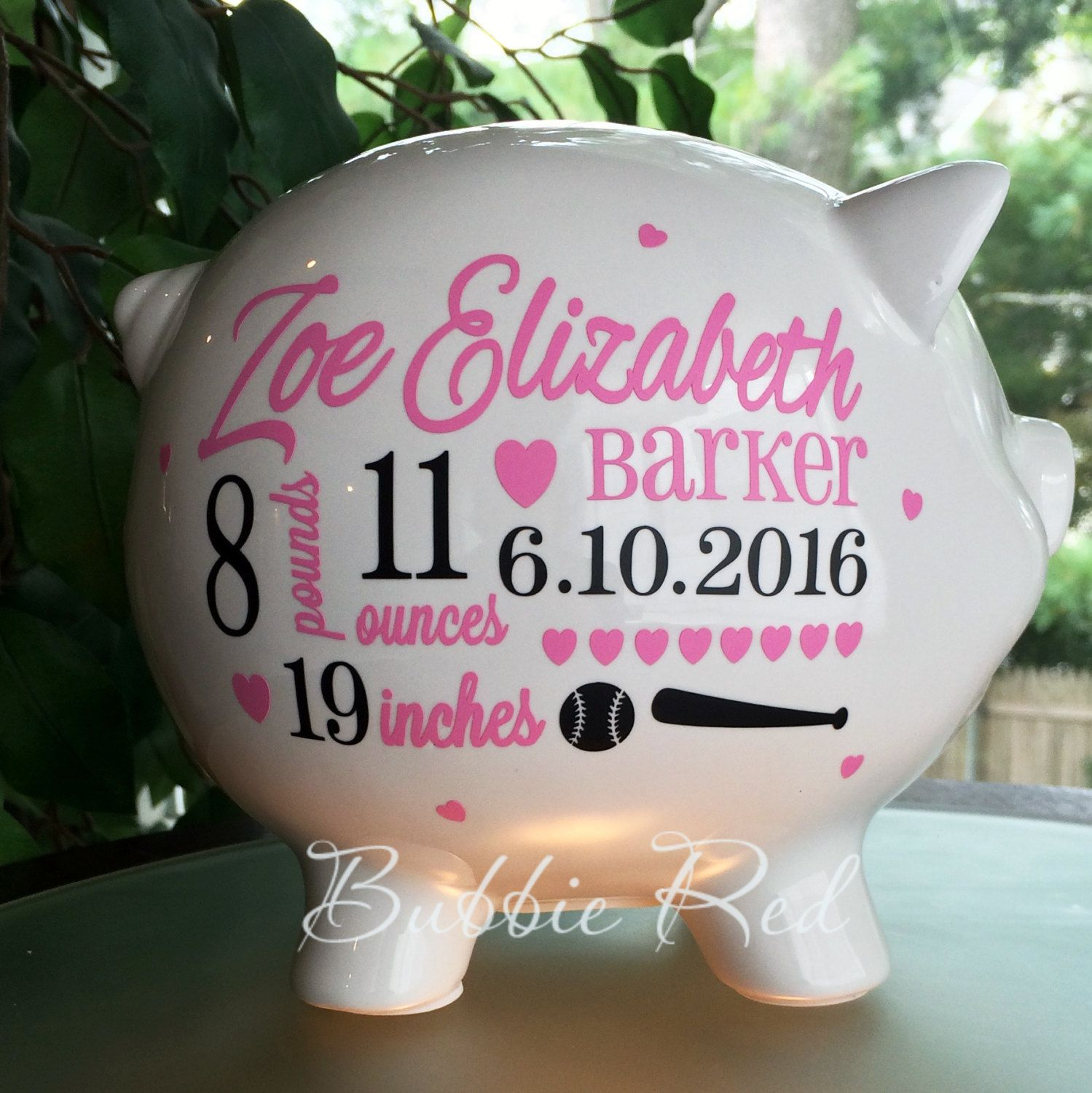 Personalized piggy bank softball baby girl piggy bank baseball personalized piggy bank softball baby girl piggy bank baseball baby girl gift negle Choice Image
