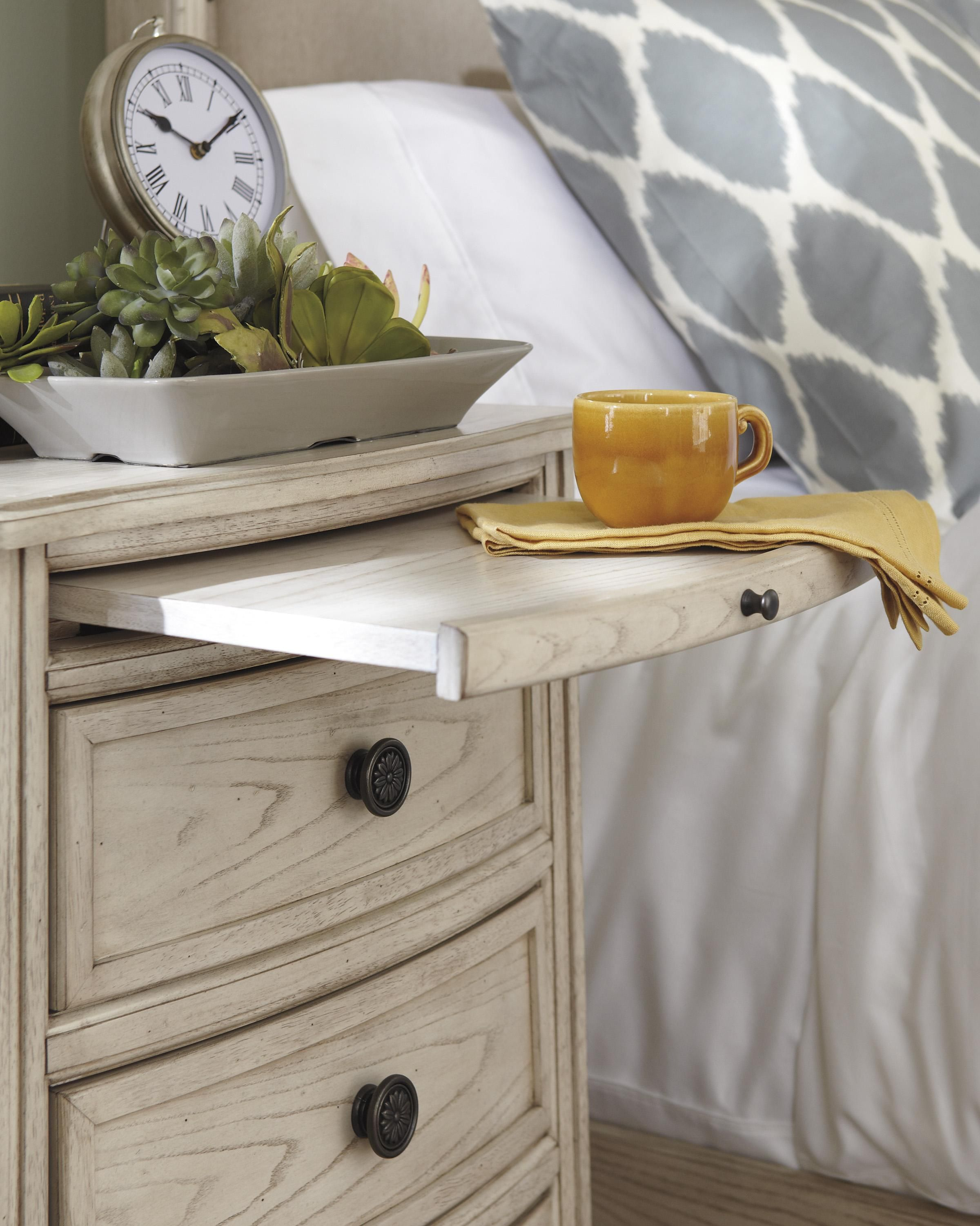 Demarlos Narrow Night Table with Pull-Out Tray and Power Strip with ...