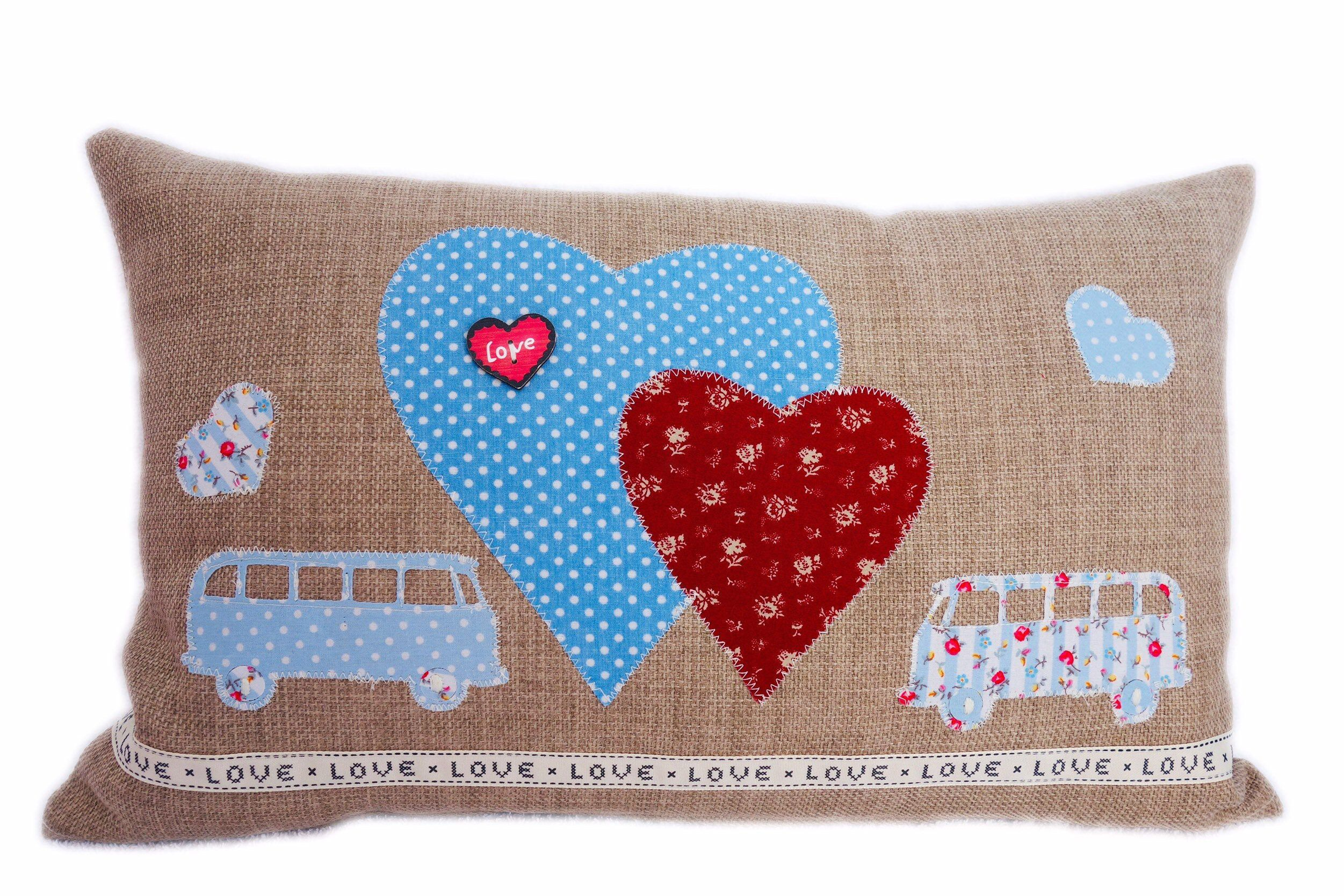 Campervan Appliqué Decorative Feature Cushion, Blue Campers and Hearts design  Excited to share