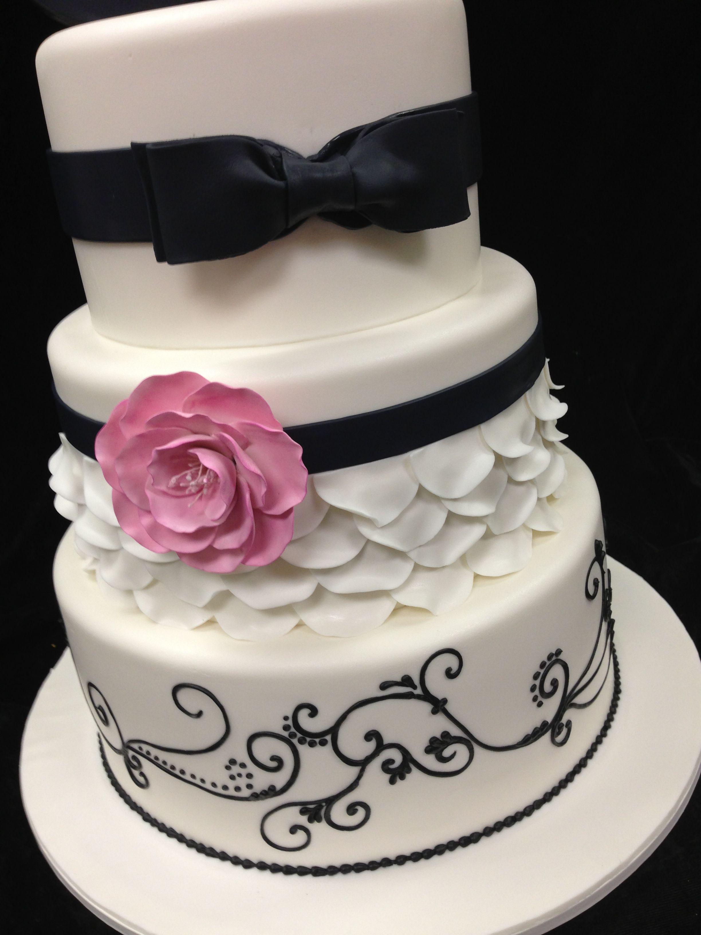 Fondant Cake With Petal Look And Handmade Flower Beautiful Black