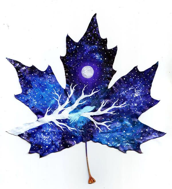 Magical and Mystical Painting on Fallen Leaves | Leaf art, Art, Art drawings