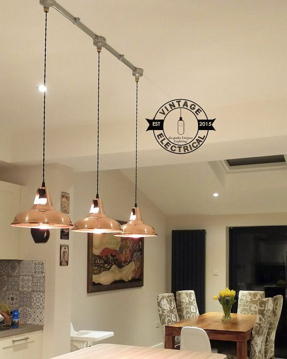 3 X Cawston Industrial Factory Solid Copper Shade Light Ceiling Dining Room Kitchen Table Vintage 3 X Edison Filament Lamps Pendant Bar Breakfast Bar Lighting Copper Shade Light Breakfast Bar Pendant Lights