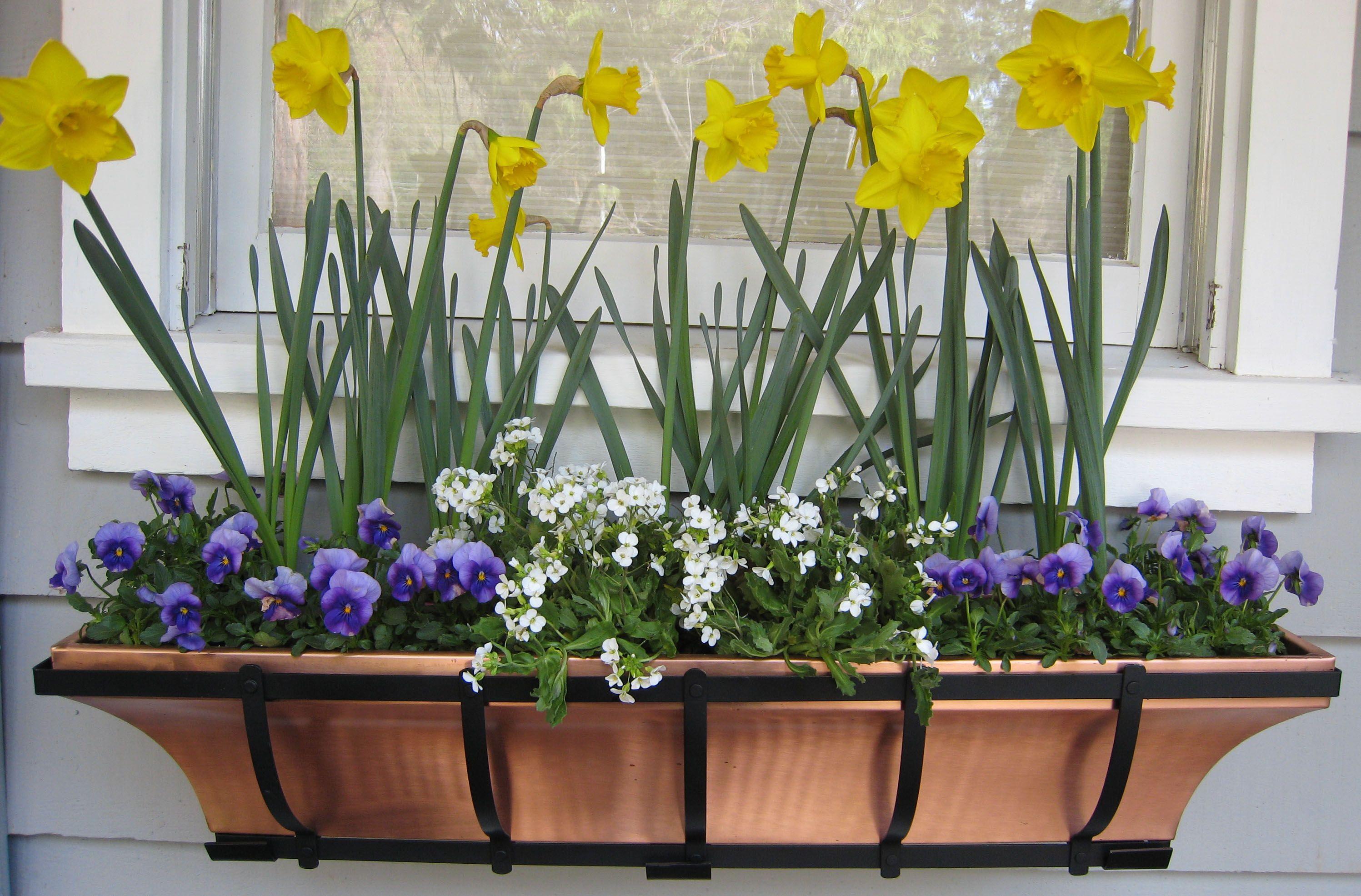 Copper window box hanging flower deck planter 30 model