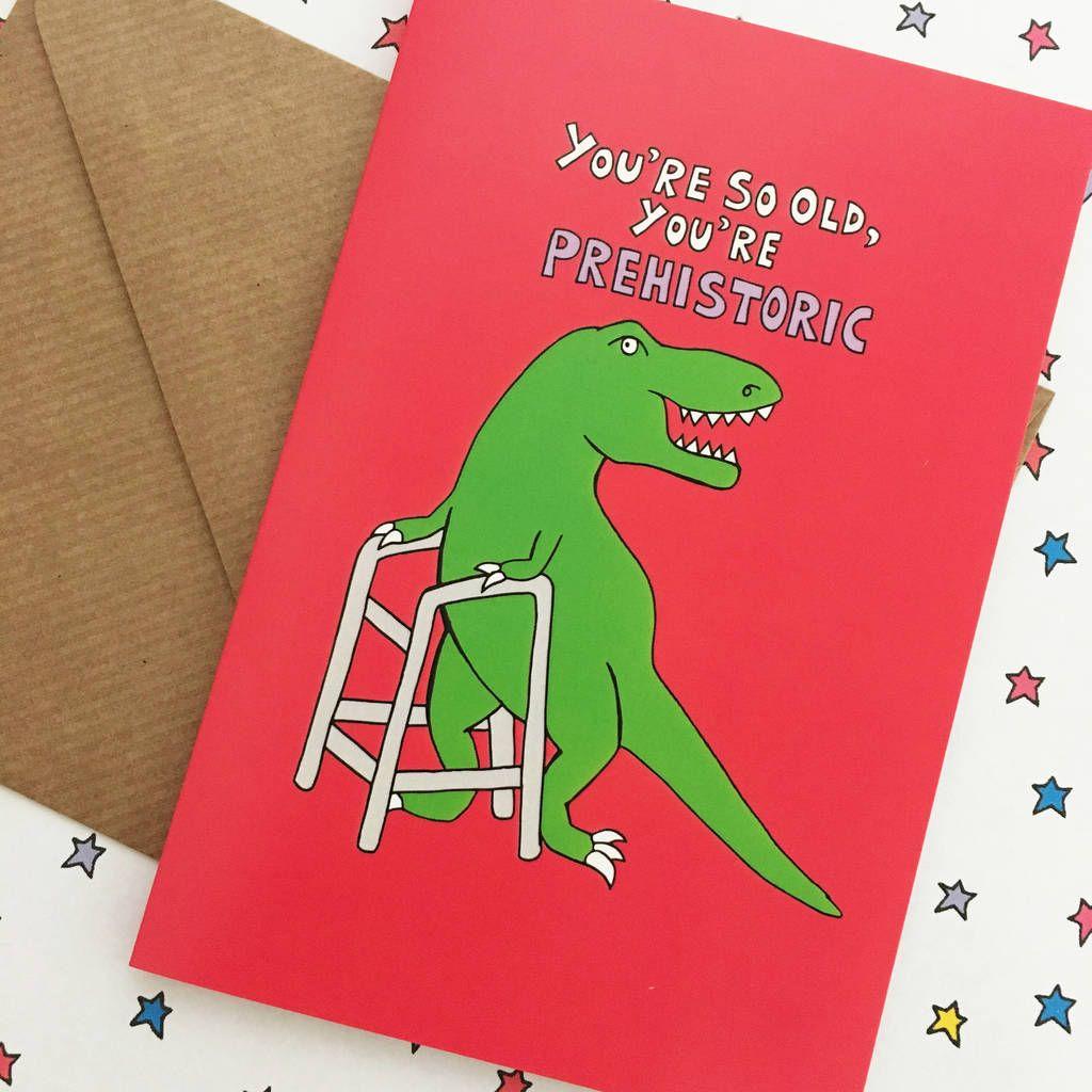 Old Age Dinosaur Birthday Card