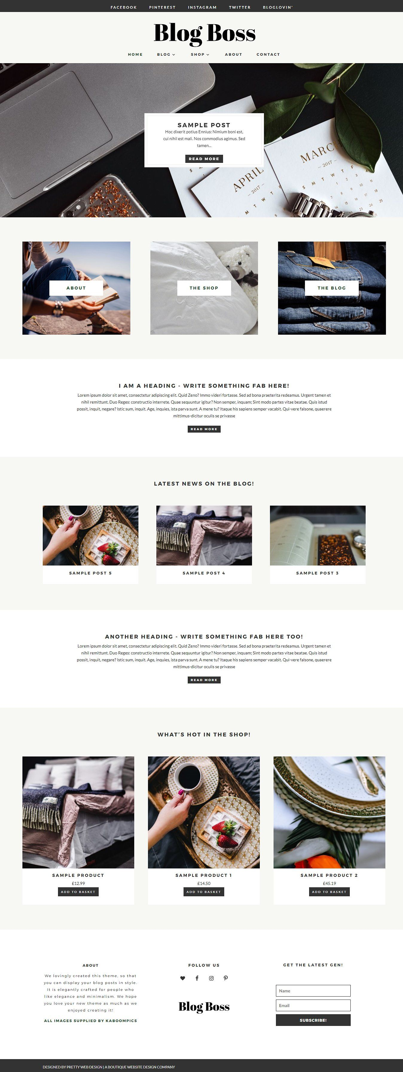 Blog Boss – WordPress Blog Theme by Pretty Web Design on