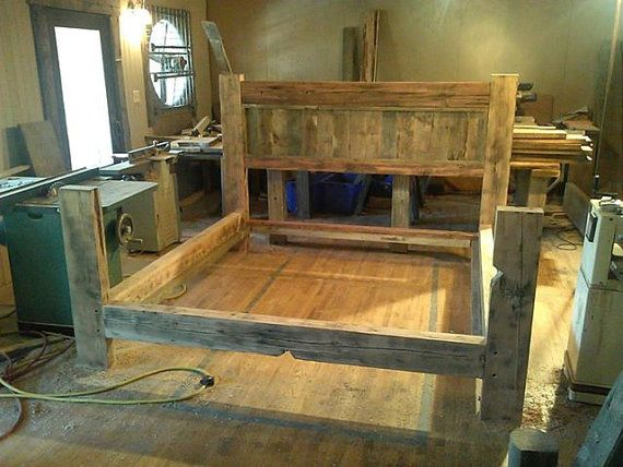 love this idea for our bed reclaimed barn wood bed frame by boonebarn on etsy