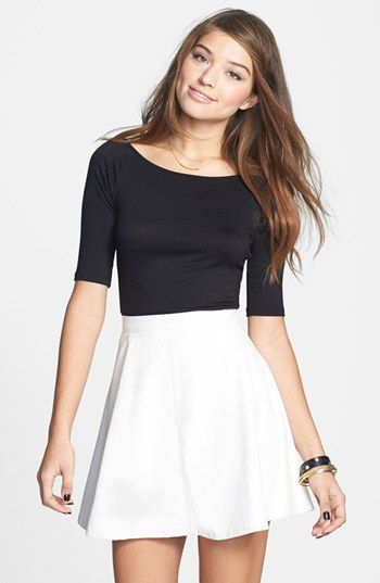 093213cc124c Lily White Faux Leather Skater Skirt (Juniors) (Online Only)   Nordstrom