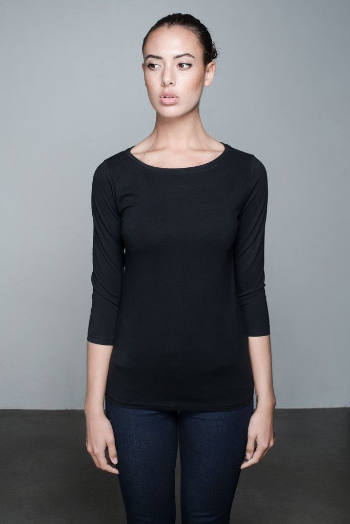 Britt 3/4 Sleeve Top   People's Avenue  #sleevetop #black #basic