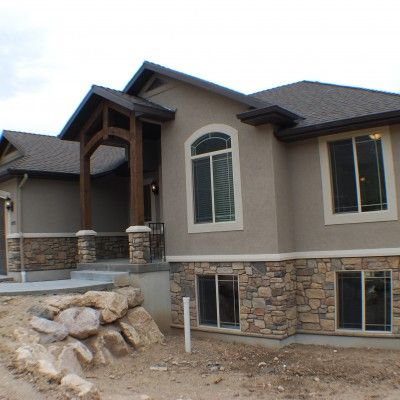 Cf olsen homes exterior stucco rock exteriors for Stucco stone exterior designs