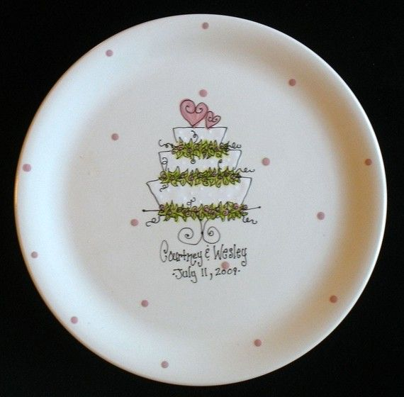 Personalized Wedding Plate Wedding Cake Hand Painted Ceramic