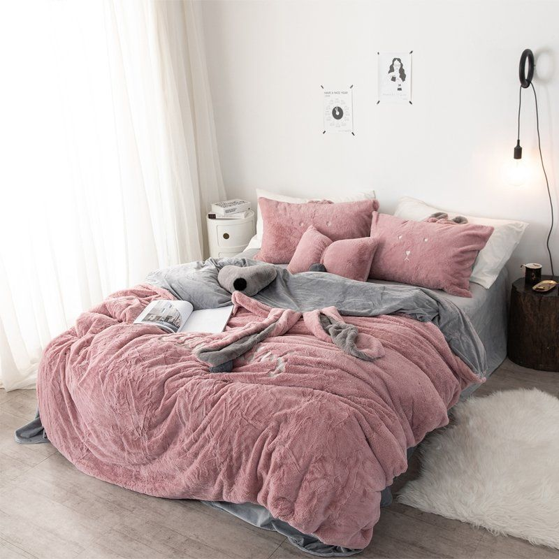 3 4pcs Chenille Crystal Velvety Bedding Set Full Queen King Quilt Cover Bed Sheet Pillowcase Full Bedding Sets Bed Comforter Sets Cute Bed Sets