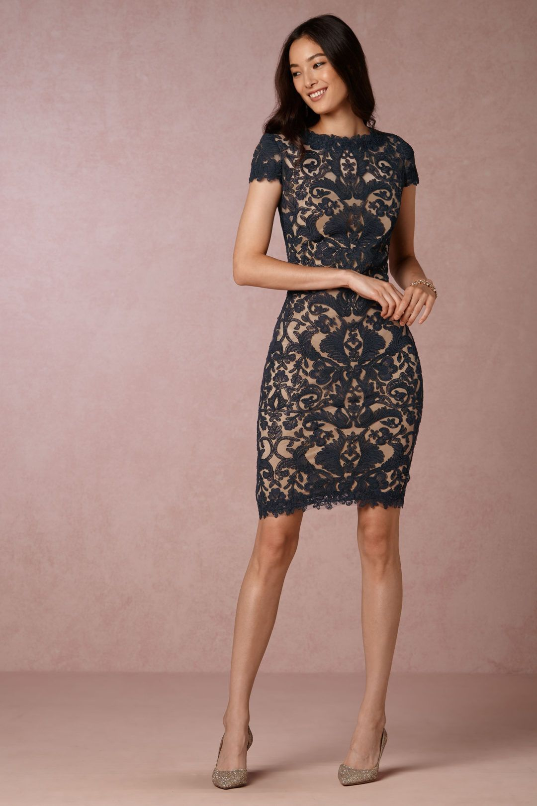 a388149692 Lace sheath dress in navy blue cocktail dress 2016 wedding guest attire for  autumn
