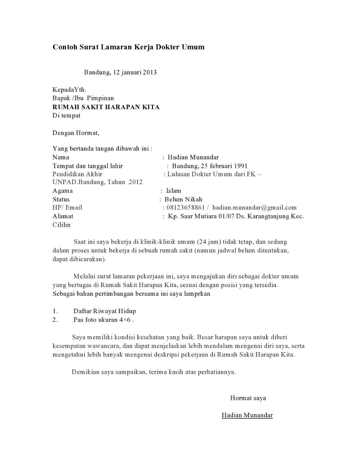 contoh surat lamaran kerja dokter contoh lamaran kerja