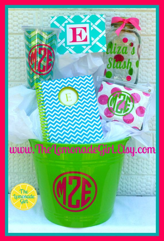 PERSONALIZED Basket Personalized Holiday Monogram Birthday Gift Christmas Teacher Teen