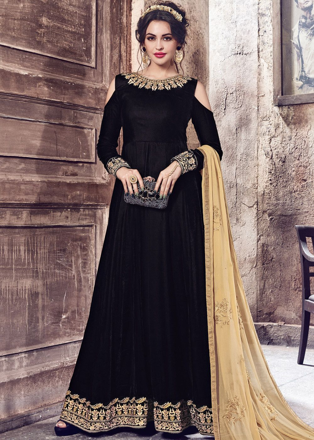 d351b135d9 #Black #abaya style cold shoulder #velvet #kameez lightly embellished with  #zari, #embroidery and stone work.
