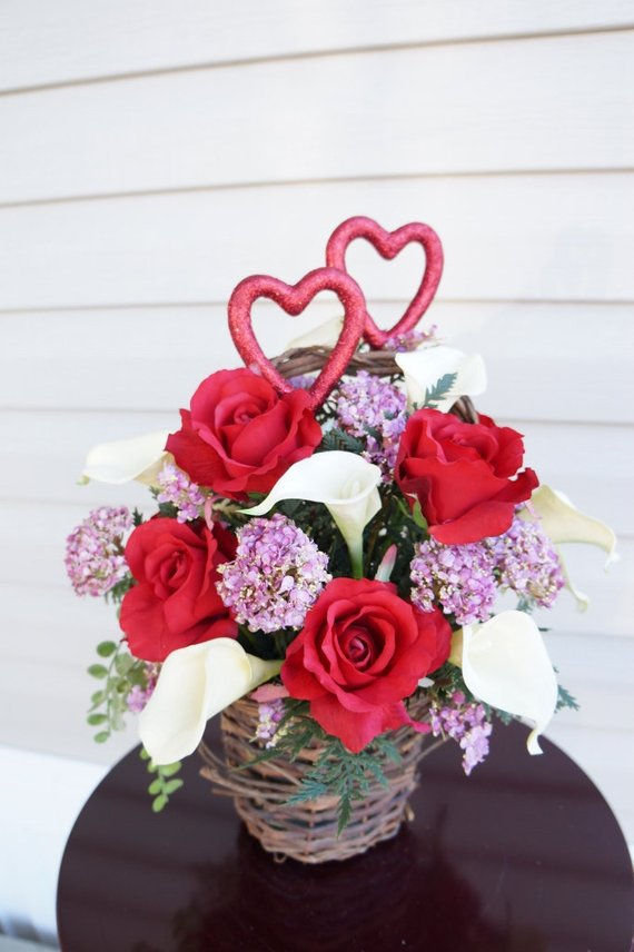 Valentines Floral Arrangement Home Decor Center Piece Roses Calla Lilies Red Flowers Purple F Flower Arrangements Floral Arrangements
