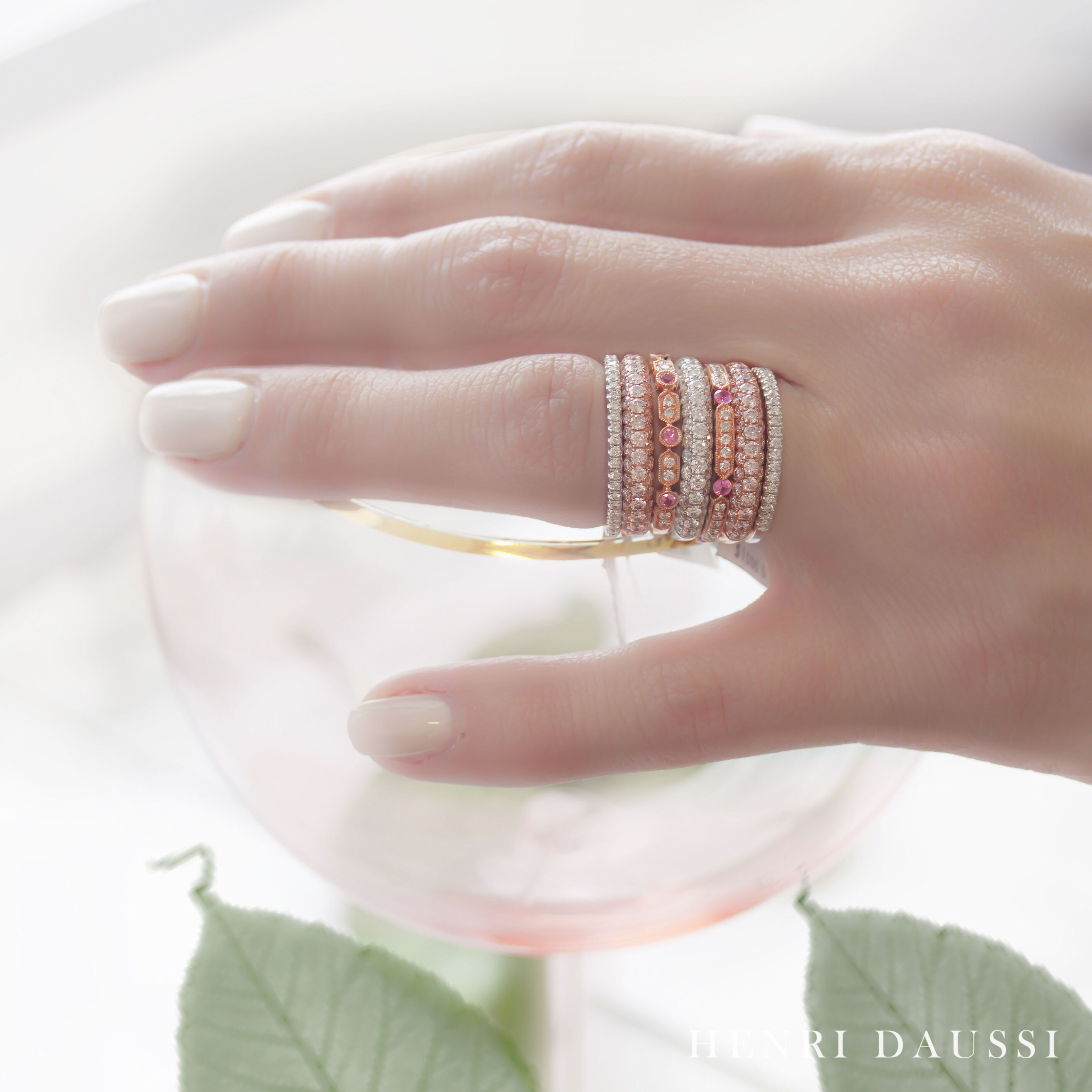 Henri Daussi pink diamond blush pink wedding band set. Ideal for a ...