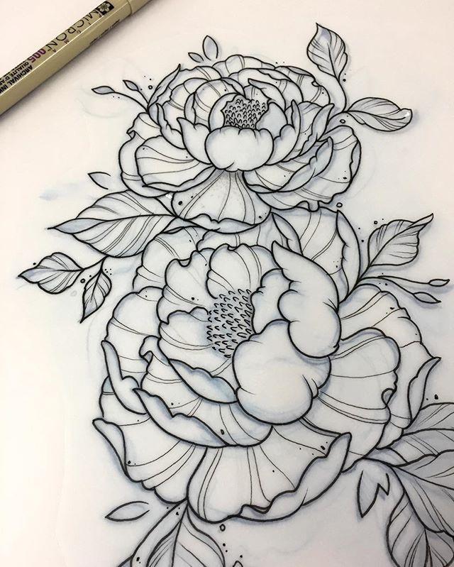 Peony Tattoo Outlines Sleeve Tattoos Tattoo Project Flower