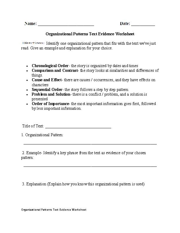 Organizational Patterns Text Evidence Worksheet Text Structure