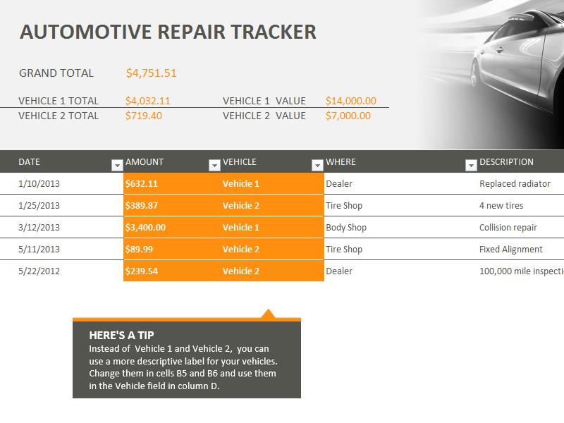 sample automotive repair tracking template