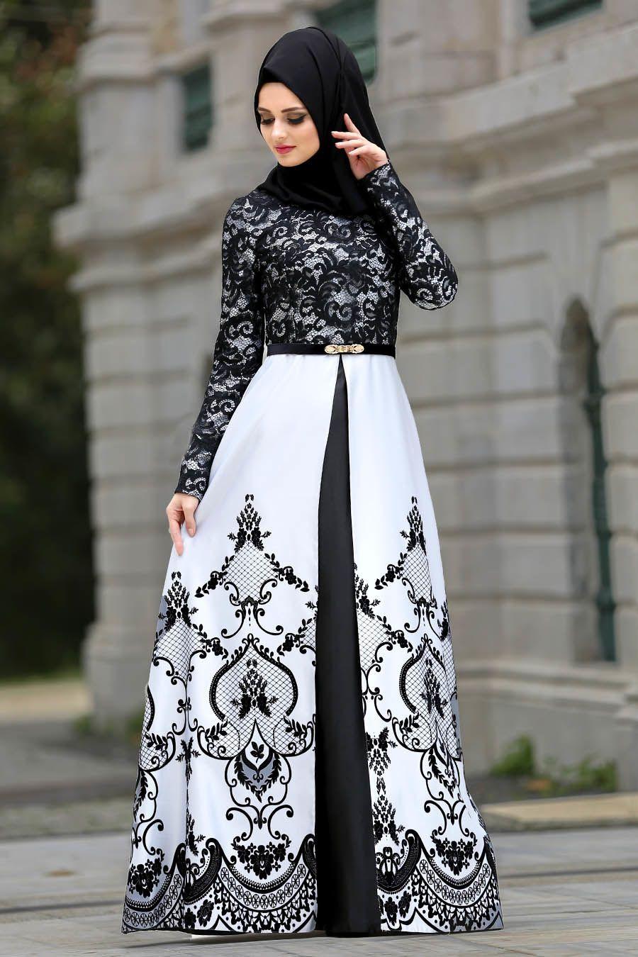 Tesetturlu Abiye Elbise Flok Baskili Gri Tesettur Abiye Elbise 2952gr Tesetturisland Tesettur Tesetturelbise T Busana Islami Gaya Abaya Model Baju Wanita