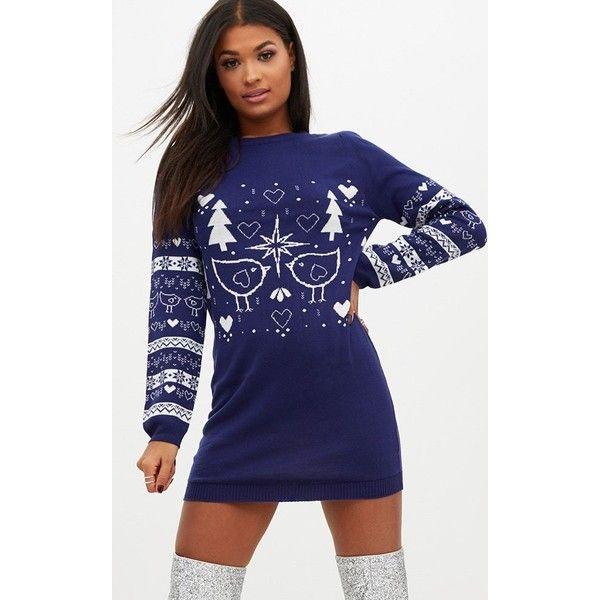 Navy Fairisle Christmas Jumper Dress ($24) ❤ liked on Polyvore ...