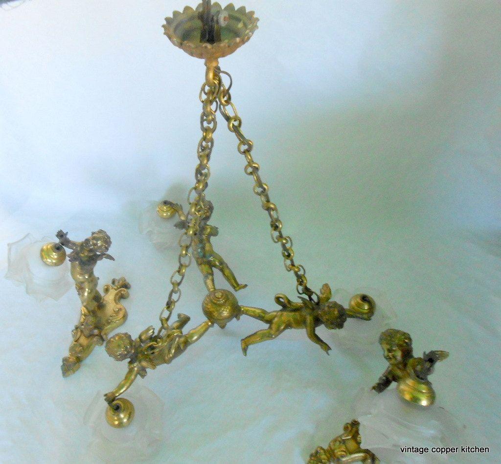 Antique french bronze 3 cherubin cherub chandelier and two sconces antique french bronze 3 cherubin cherub chandelier and two sconces flower shade by treasuresfromfrance on etsy arubaitofo Gallery
