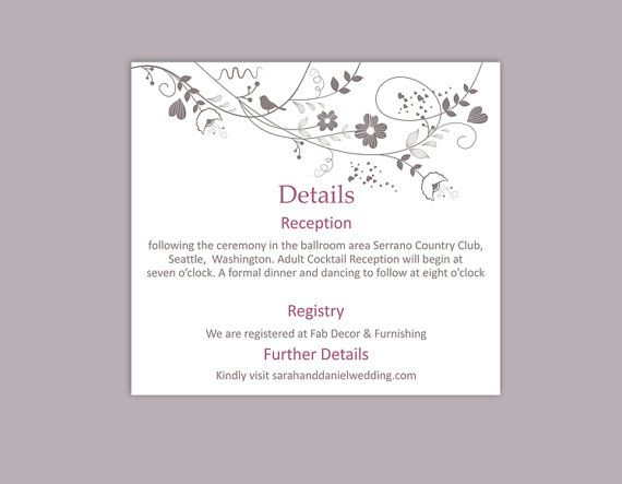 DIY Wedding Details Card Template Download Purple Details Card by