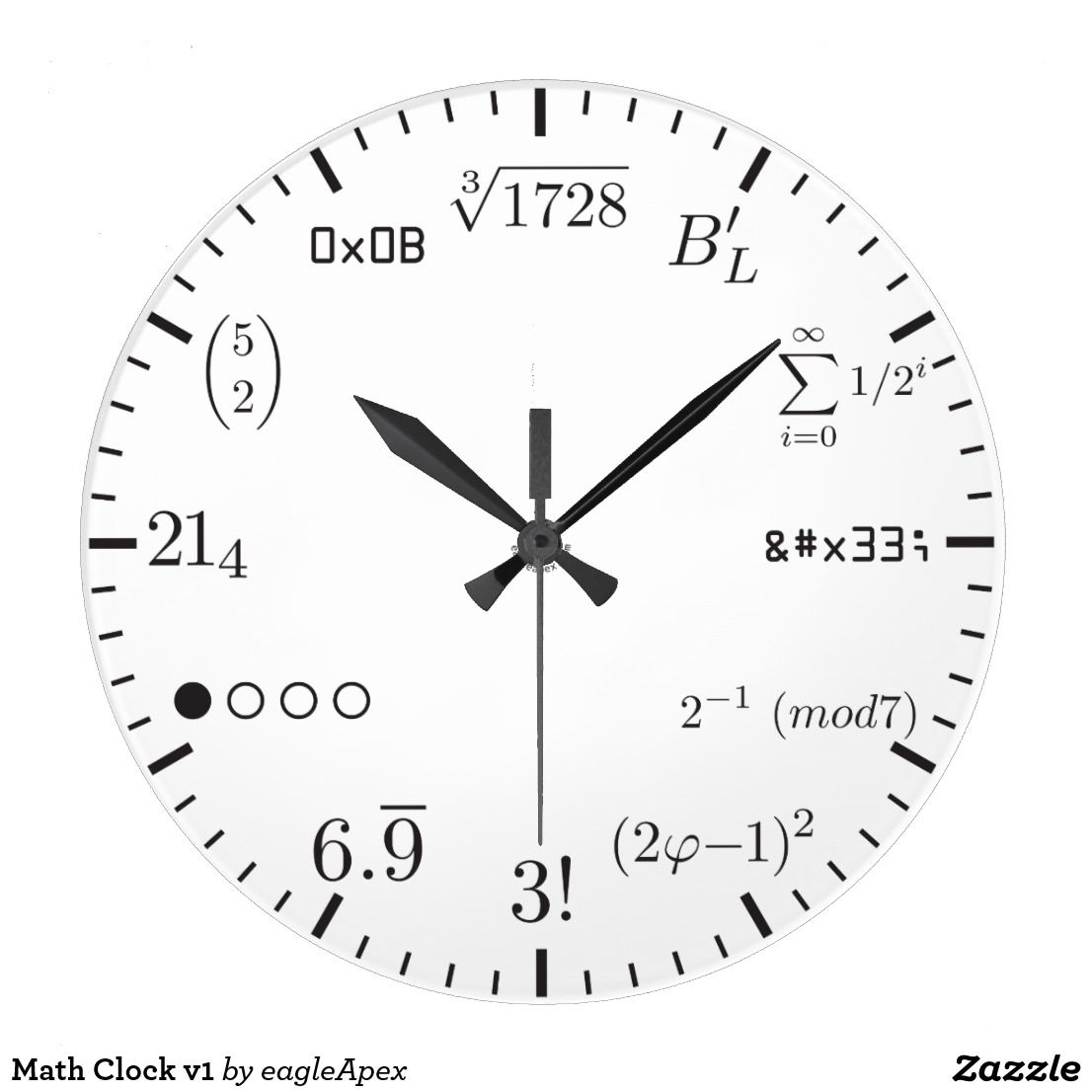 Math Clock V1 Zazzle Com Math Clock Clock Clock Template