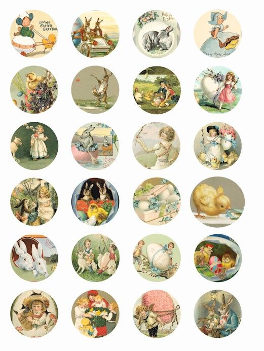 Easter Bunny eggs vintage victorian art bunnies chicks children digital collage sheet 1.5 inch circles