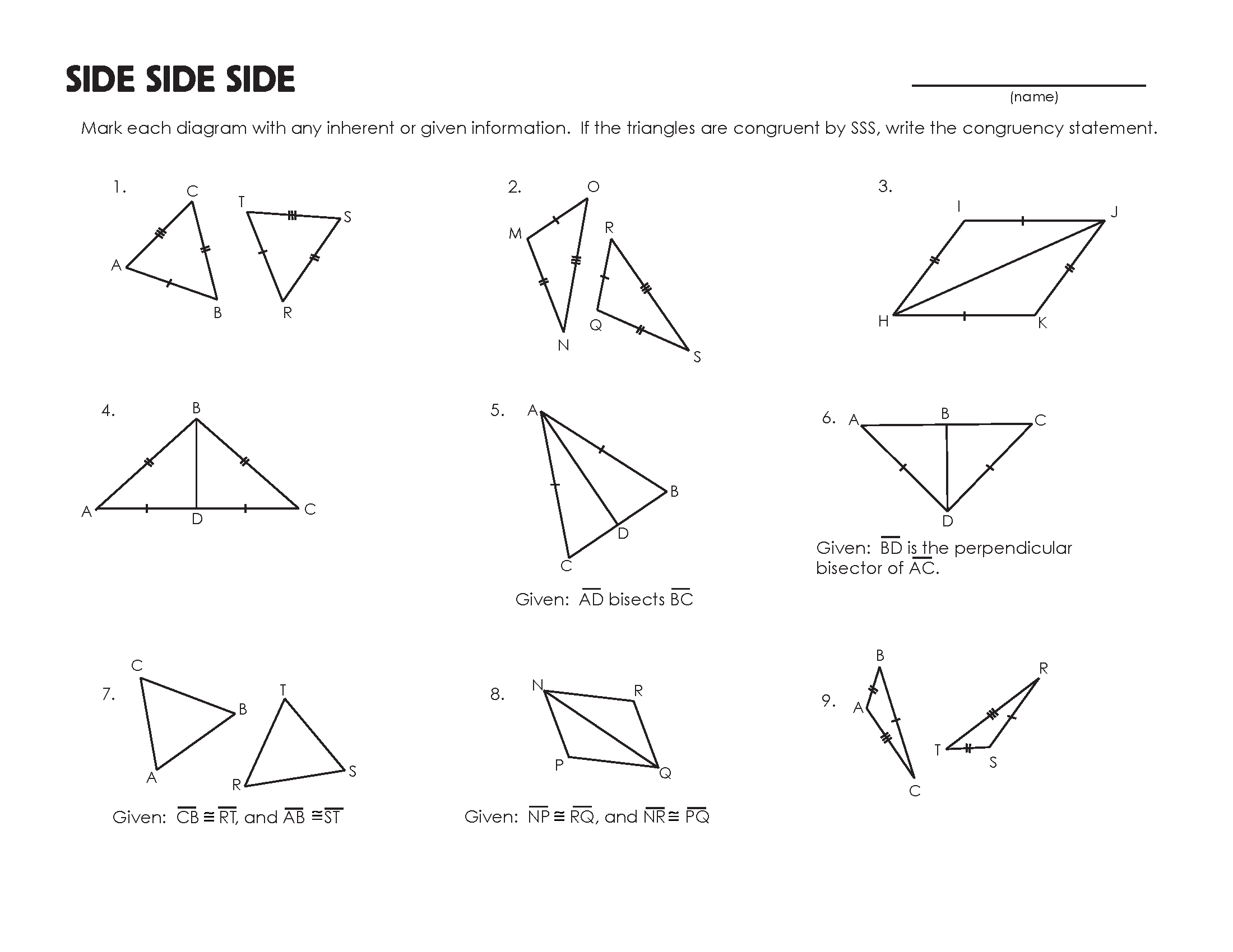 Congruent Triangles Worksheet | Congruent triangles ...