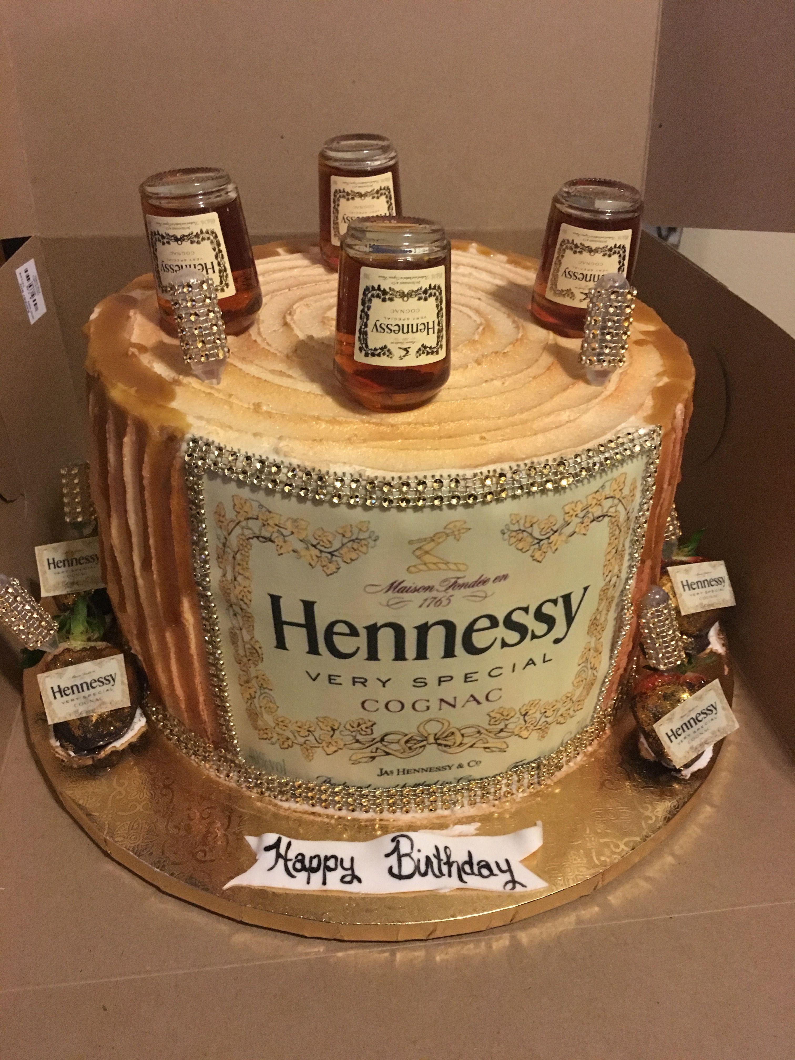 Superb Hennessy Carmel Drip Birthday Cake Birthday Cake For Husband Funny Birthday Cards Online Alyptdamsfinfo