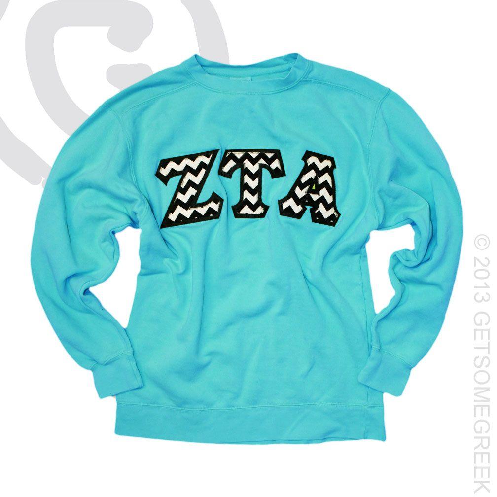 ZETA TAU ALPHA CHEVRON SEWN ON LETTER SWEATSHIRTS!! SO CUTE! #ZTA #ZETATAUALPHA #ZETALOVE