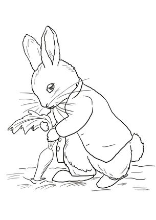 Click Peter Rabbit Stealing Carrots Coloring page for