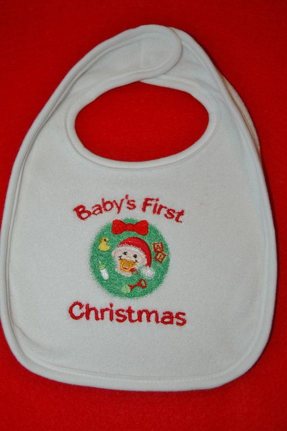 Cute Embroidered Baby's First Christmas Bib by SewSewChristmas, $6.00