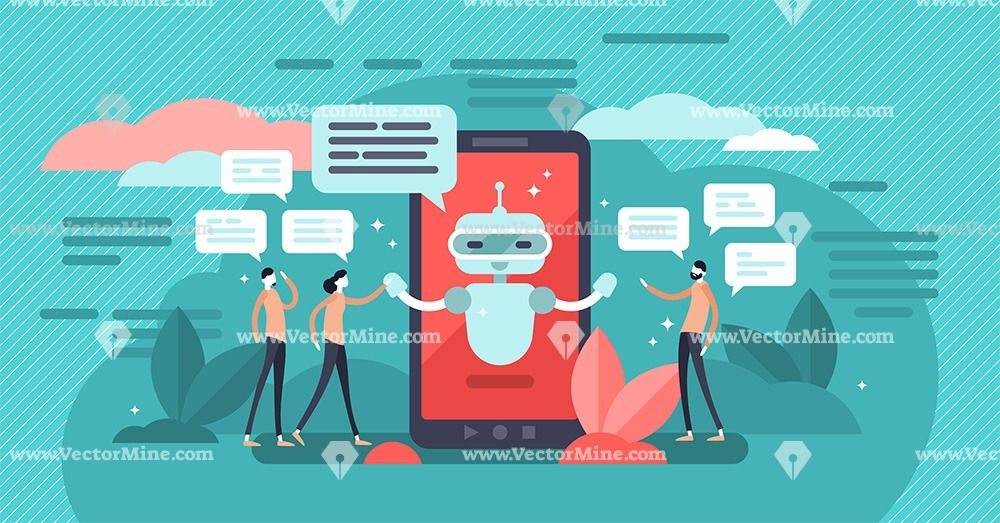 Chatbot App Technology Tiny Persons Concept Illustration Robots Concept Chatbot App App Technology
