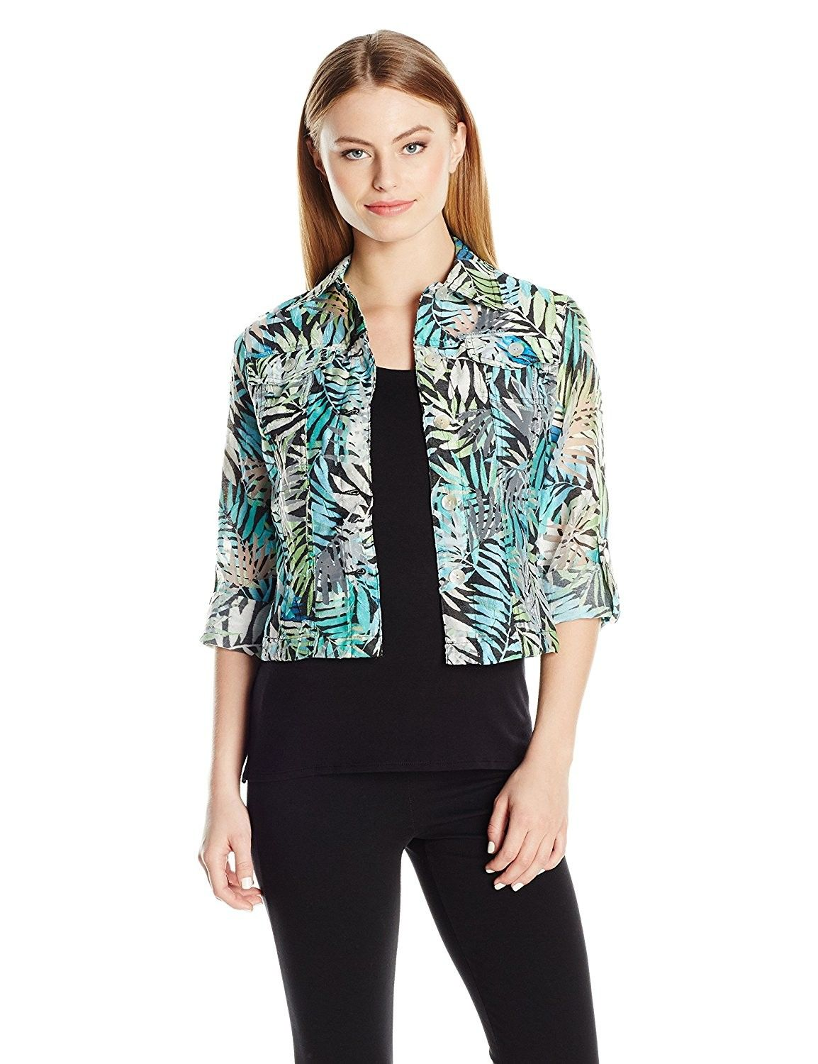 Womens Plus-Size Button-Front Tropical Palms Printed Crinkle Burnout Shirt Jacket Ruby Rd