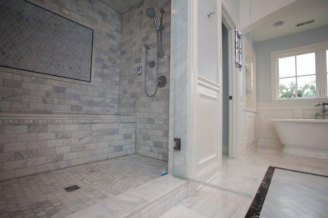 Oakley Home Builders Bathrooms Freestanding Tub Chair Rail Wainscoting Marbl Calcutta Gold Marble Bathroom Bathroom Wall Tile Design Stone Shower Walls