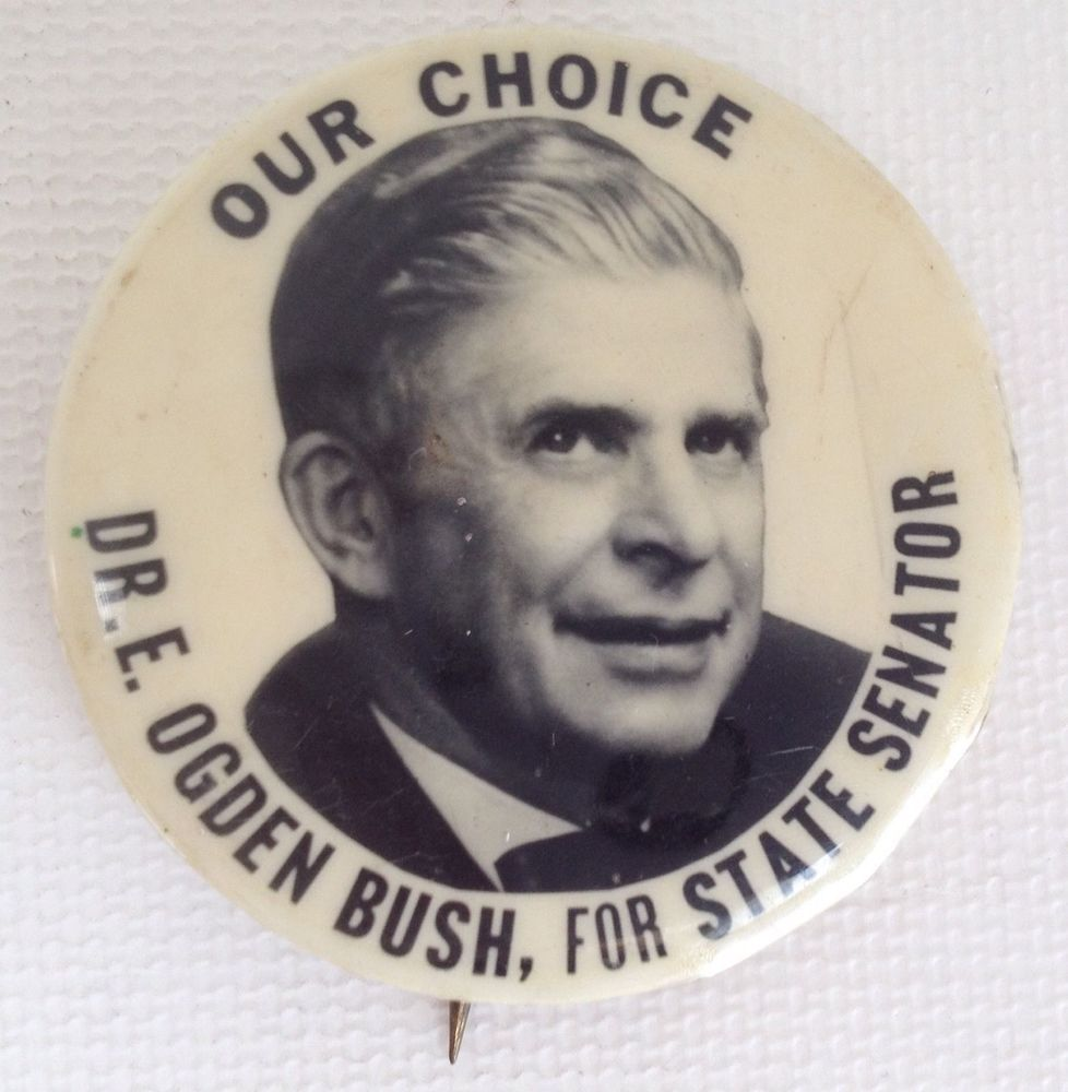 Vintage Political Pin E Ogden Bush Pinback NY Senator 1950s New York Politics