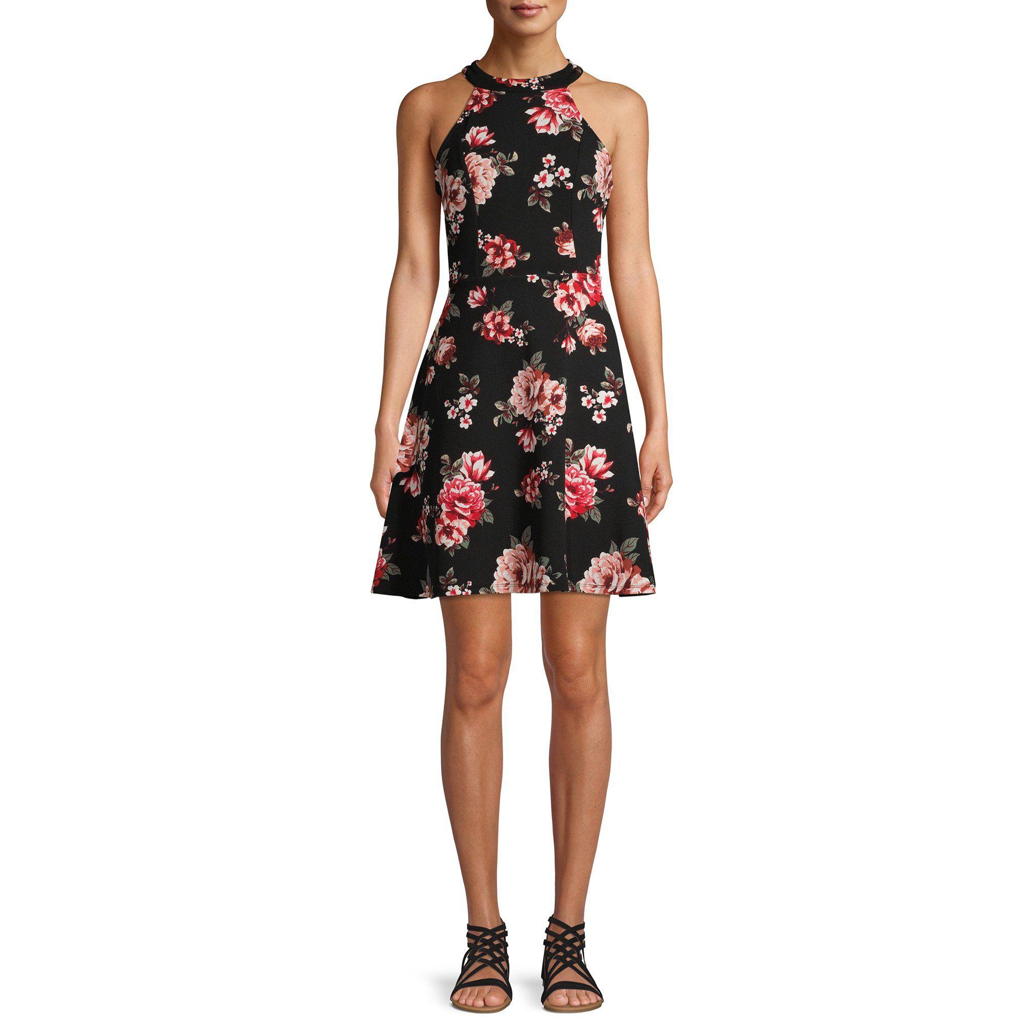 No Boundaries No Boundaries Halter Neck Dress Walmart Com Printed Casual Dresses Mini Shift Dress Casual Dress [ 2000 x 2000 Pixel ]