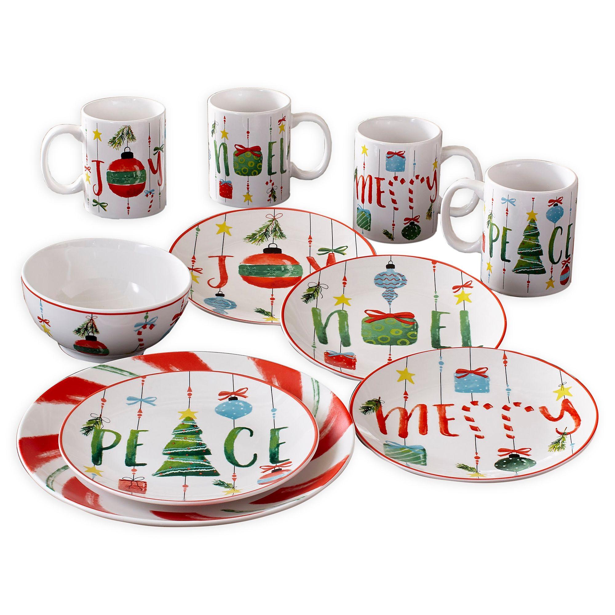 American Atelier Ornaments 16 Piece Dinnerware Set Bed Bath Beyond Christmas Dinnerware Holiday Dinnerware Christmas Dinnerware Sets