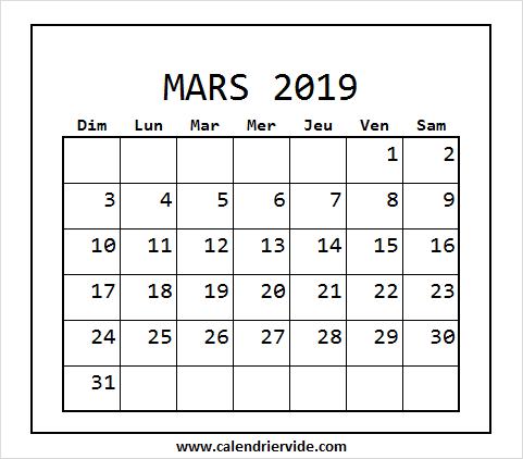 Calendrier Mois Mars 2019 March 2019 Calendar 2019