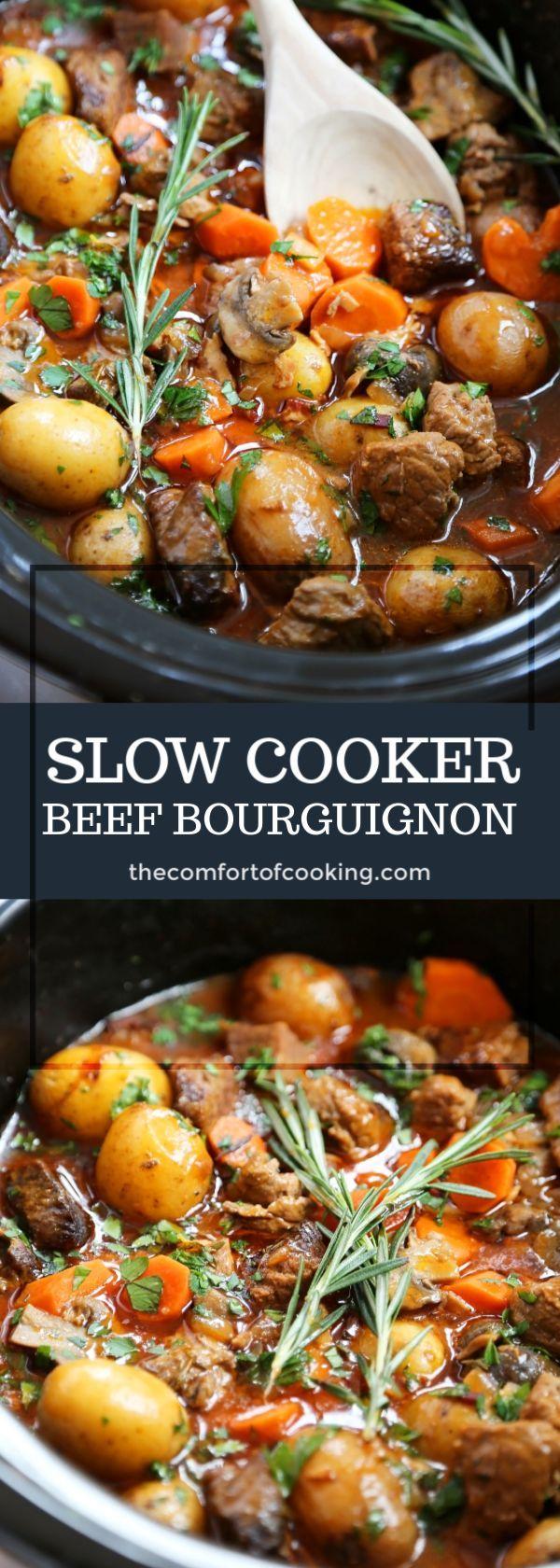Slow Cooker Beef Bourguignon Beef Bourguignon Beef Recipes Food Recipes