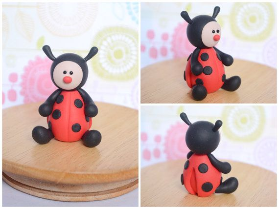Cute Polymer Clay Ladybug Custom Cake Topper by Linnypigs