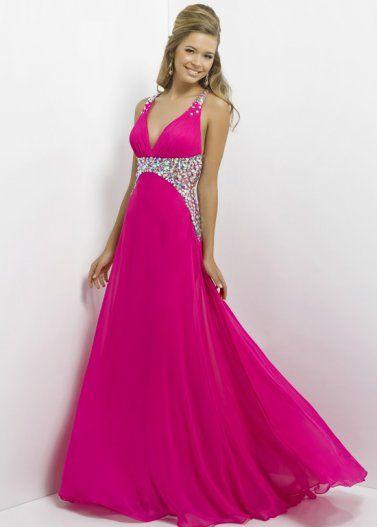 Dazzling Beaded Pink Long Open Back Prom Dress