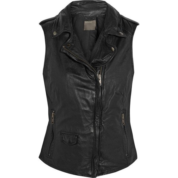 Muubaa Lynn textured-leather vest (€200) ❤ liked on Polyvore featuring outerwear, vests, jackets, black, muubaa, slim fit vest, slim vest, black vest and vest waistcoat